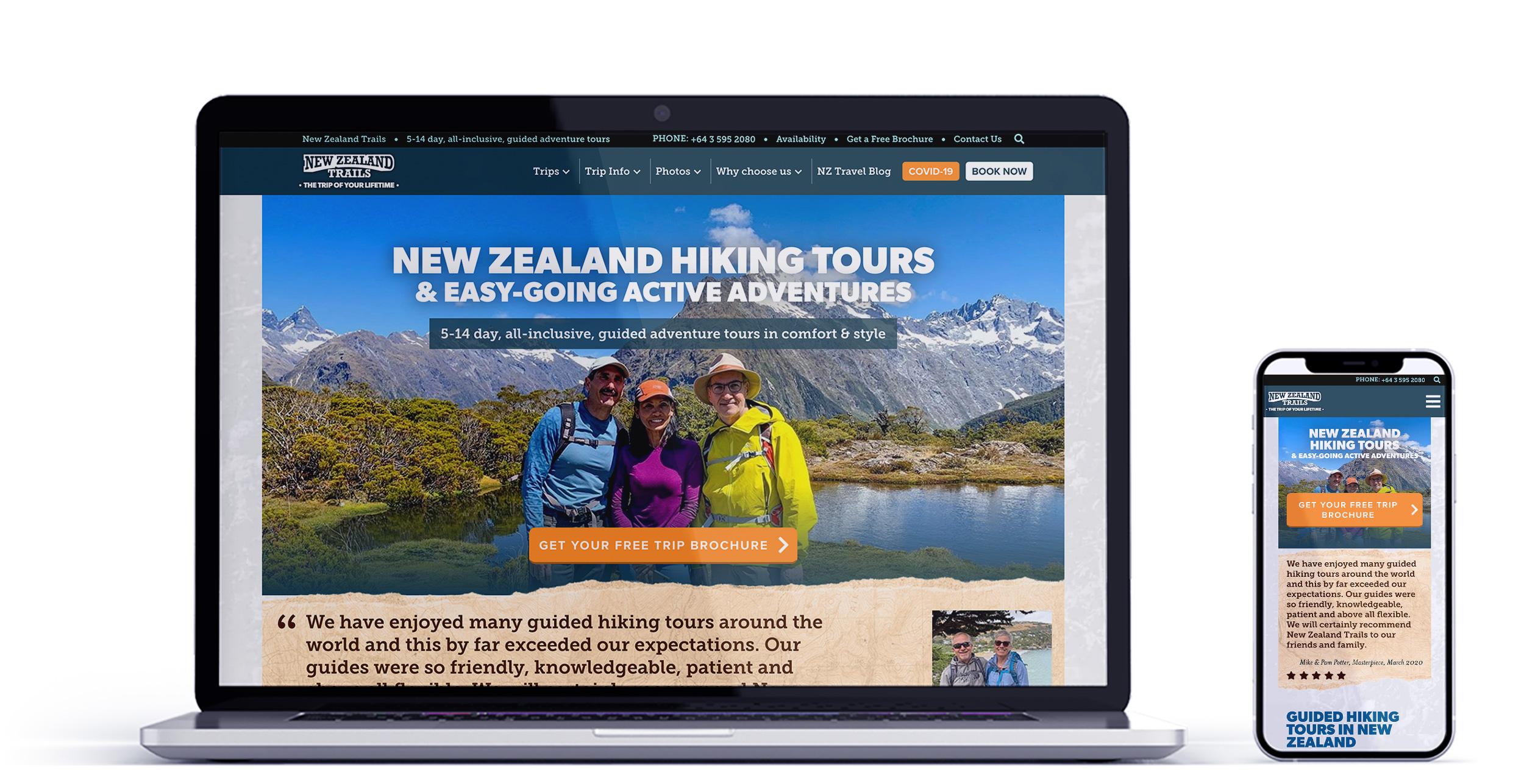 New Zealand Trails Web Mockup