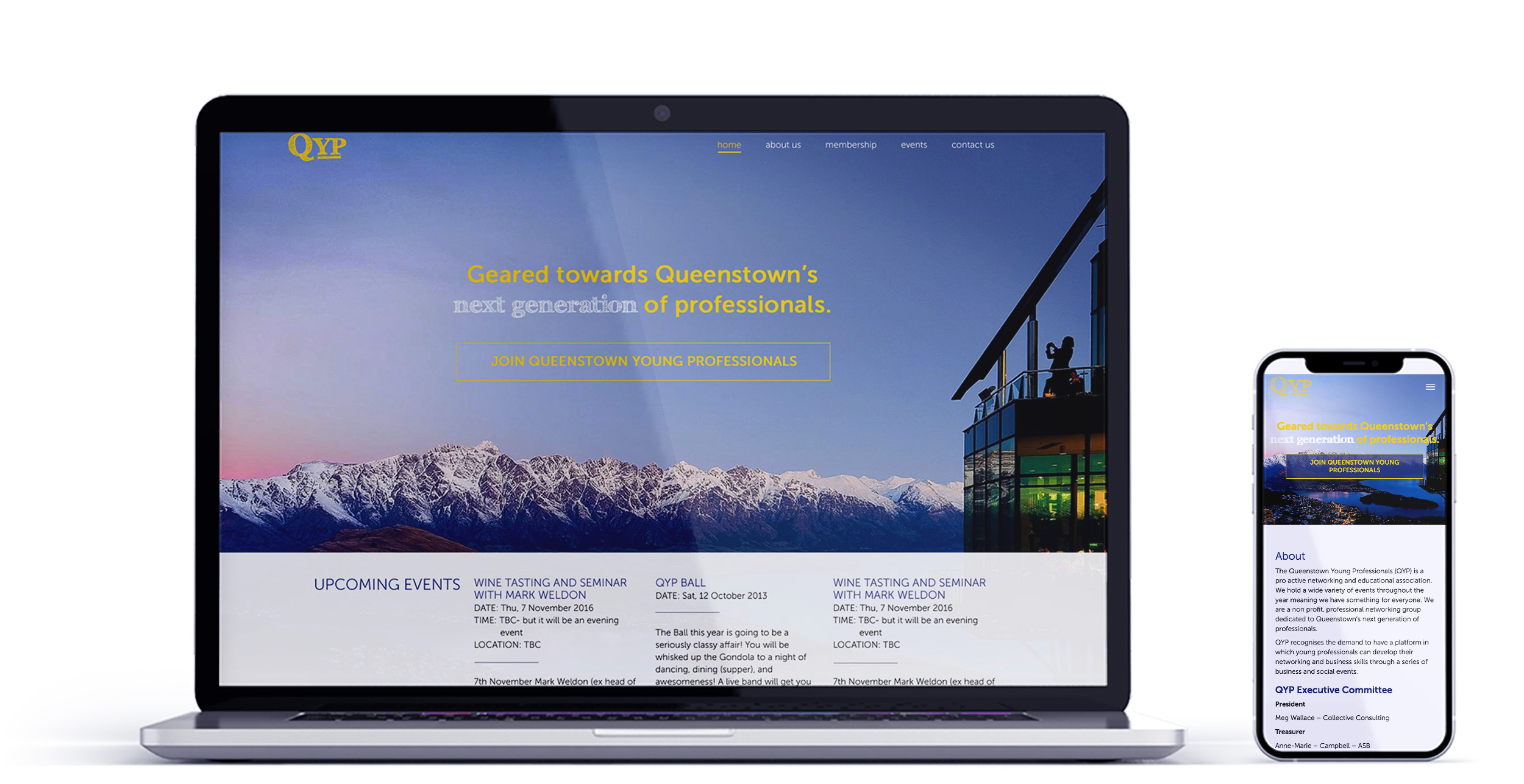 Queenstown Young Professionals Web Mockup