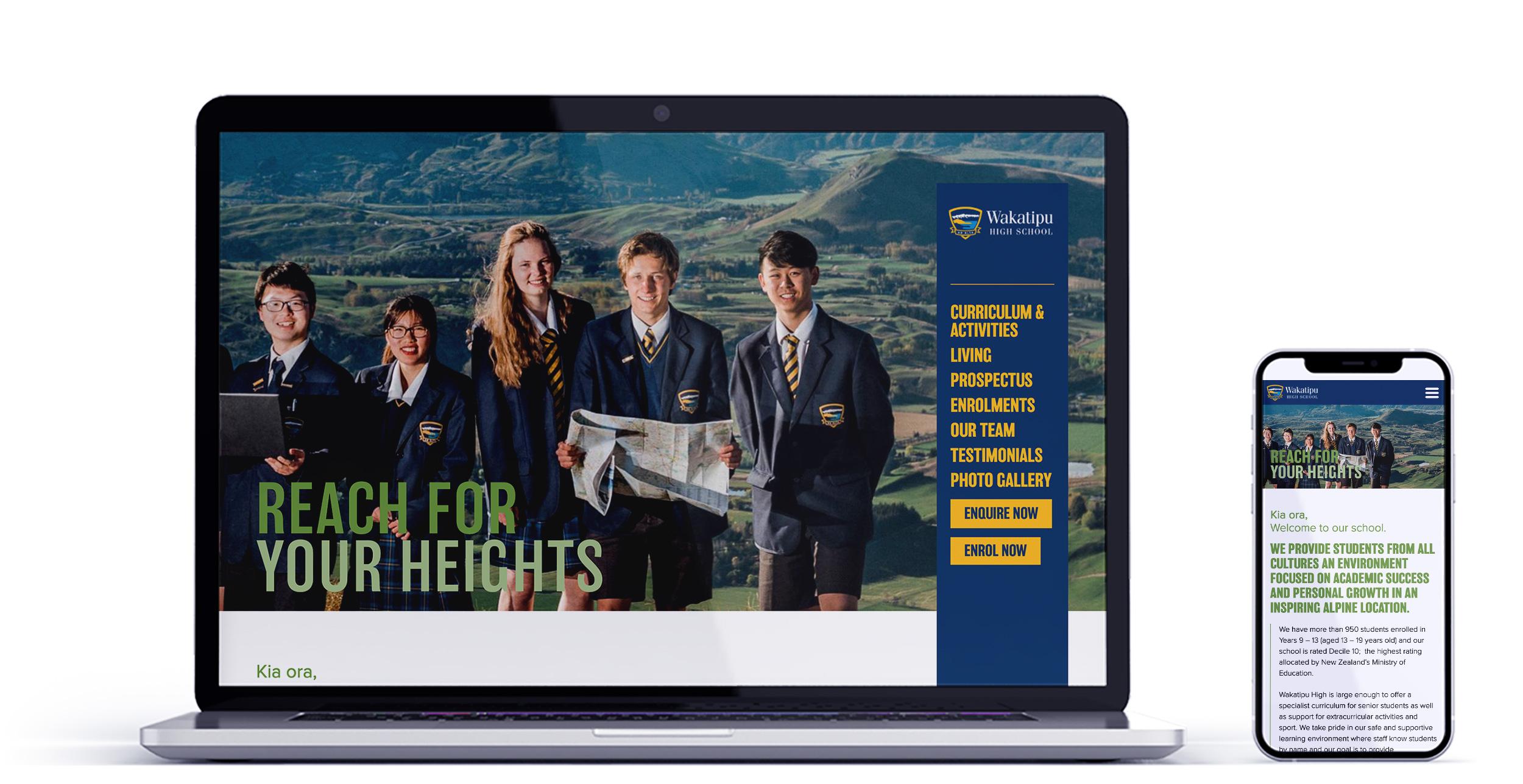 Wakatipu Highschool International Web Mockup